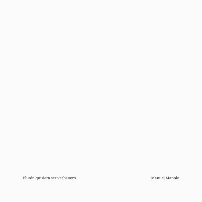 Manuel Manolo - Plutón quisiera ser verbenero (2015) - ED210606